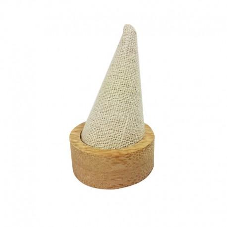 Cône pour bague en bois et en coton beige naturel beige - 9886