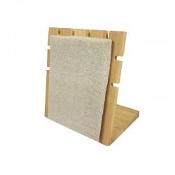 Petit présentoir bijoux pour chaînes en bois et coton beige - 9869