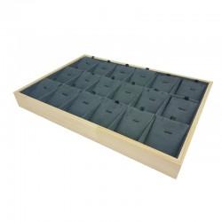 Plateau de présentation en bois et suédine grise 18 chaînes et pendentifs - 9892