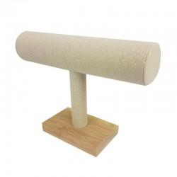 Présentoir bracelets en bois et en coton beige en forme de T - 9895