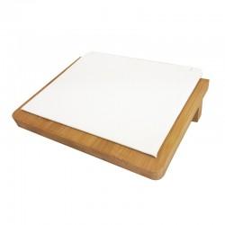 Petit plateau incliné pour chaînes en bois et simili cuir blanc - 9912
