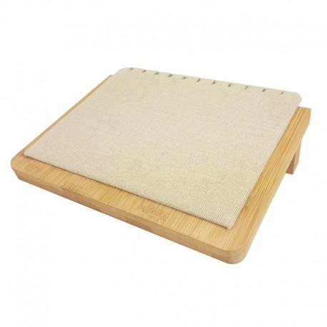 Petit plateau incliné pour chaînes en bois et coton beige - 9911