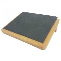 Petit plateau incliné pour chaînes en bois et suédine grise - 9910