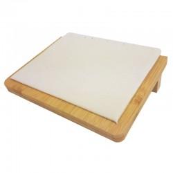 Petit plateau incliné pour chaînes en bois et suédine beige - 9909