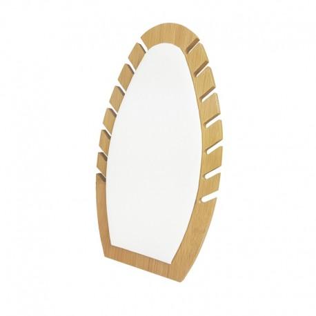 Présentoir bijoux de forme ovale our chaînes en bois et simili cuir blanc - 9908