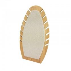 Présentoir bijoux de forme ovale our chaînes en bois et coton beige - 9907