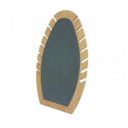 Présentoir bijoux de forme ovale our chaînes en bois et suédine grise - 9906
