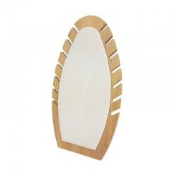 Présentoir bijoux de forme ovale our chaînes en bois et suédine beige - 9905