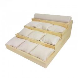 Support bracelets en bois et suédine beige rosé 9 coussins + 1 jonc - 9916