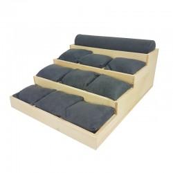 Support bracelets en bois et suédine grise 9 coussins + 1 jonc - 9915