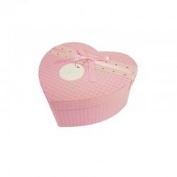 Petite boîte cadeaux en forme de coeur rose 13x15x6cm - 9936p