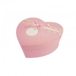 Boîte cadeaux en forme de coeur rose 15x18x7.5cm - 9937m