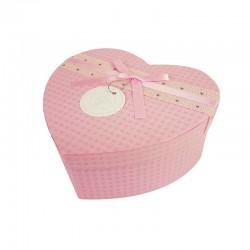 Grande boîte cadeaux en forme de coeur rose 18x21x9cm - 9938g