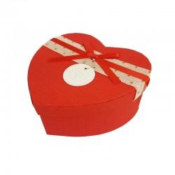 Grande boîte cadeaux en forme de coeur rouge 18x21x9cm - 9941g