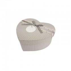 Petite boîte cadeaux en forme de coeur gris perle 13x15x6cm - 9942p