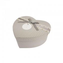 Boîte cadeaux en forme de coeur gris perle 15x18x7.5cm - 9943m