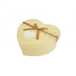 Petite boîte cadeaux en forme de coeur beige clair 13x15x6cm - 9945p