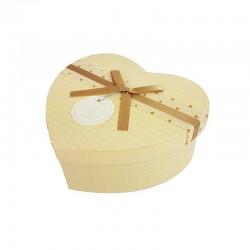 Boîte cadeaux en forme de coeur beige clair 15x18x7.5cm - 9946m