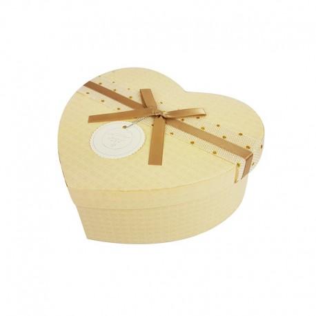 Boîte cadeaux en forme de coeur écrue 15x18x7.5cm - 9946m