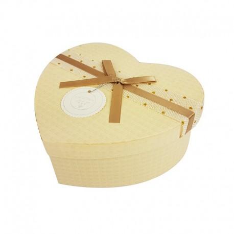 Grande boîte cadeaux en forme de coeur écrue 18x21x9cm - 9947g