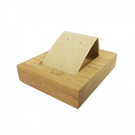 Petit porte boucles d'oreilles simple en bois et tissu aspect velours beige - 9925