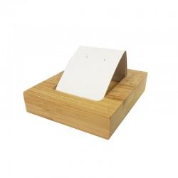 Petit porte boucles d'oreilles simple en bois et simili cuir blanc - 9926