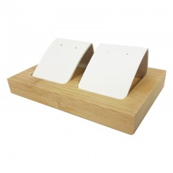 Petit porte boucles d'oreilles double en bois et simili cuir blanc - 9928