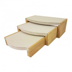 3 tables gigognes en bois et coton beige naturel - 9919