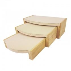 3 tables gigognes en bois et tissu aspect velours beige foncé - 9920
