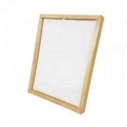 Présentoir cadre pour chaîne ou collier en bois et simili cuir blanc - 9935
