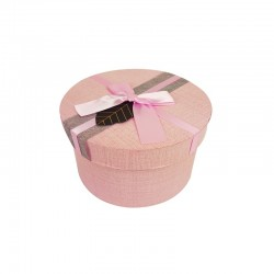 Petite boîte cadeaux ronde rose avec ruban satiné 13cm - 9948p