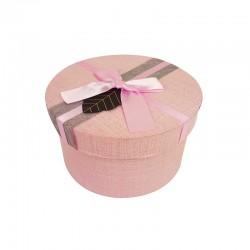Boîte cadeaux ronde couleur rose clair avec noeud ruban satiné 16cm - 9949m