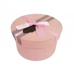 Grande boîte cadeaux ronde rose clair avec noeud satiné 19cm - 9950g