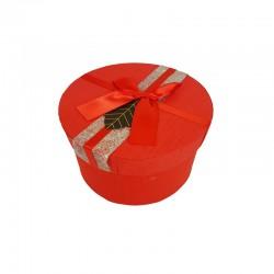 Petite boîte cadeaux ronde rouge avec ruban satiné 13cm - 9951p