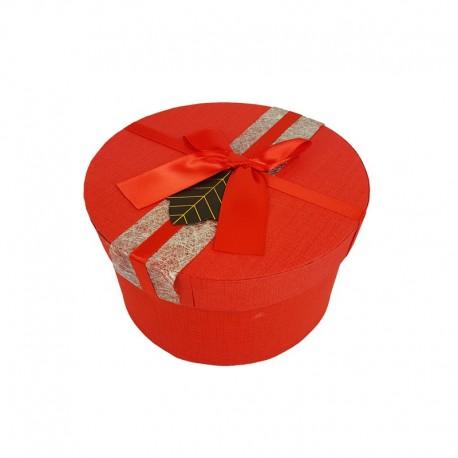 Boîte cadeaux ronde couleur rouge avec noeud ruban satiné 16cm - 9952m
