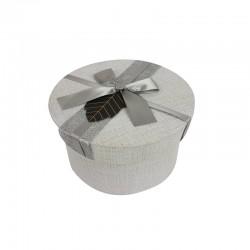 Boîte cadeaux ronde couleur gris perle avec noeud ruban satiné 16cm - 9955m