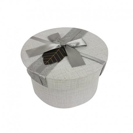 Grande boîte cadeaux ronde gris perle avec noeud satiné 19cm - 9956g