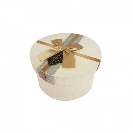 Petite boîte cadeaux ronde couleur lin avec ruban beige 13cm - 9957p