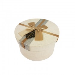 Boîte cadeaux ronde couleur lin avec noeud ruban satiné 16cm - 9958m