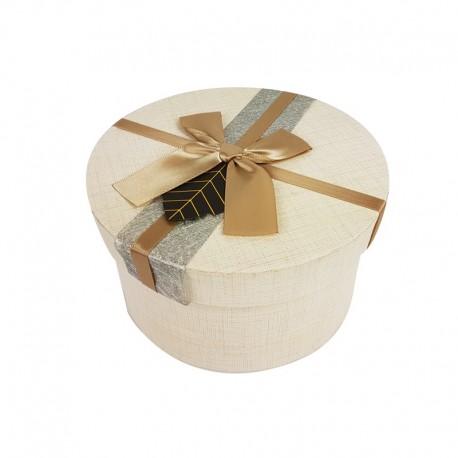 Grande boîte cadeaux ronde couleur lin avec noeud satiné 19cm - 9959g