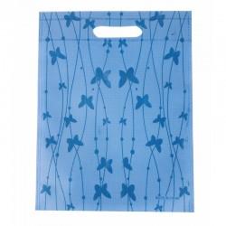 12 grands sacs non-tissés bleus imprimé de papillons 35x44cm - 9966