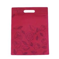 12 grands sacs non-tissés rose foncé imprimé de roses 35x44cm - 9967