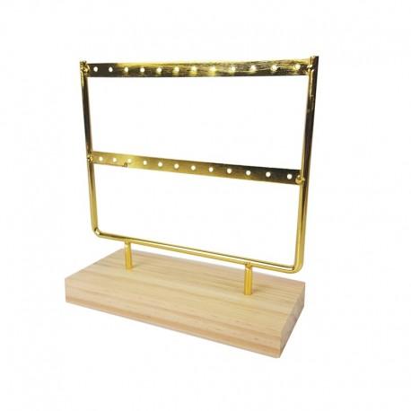 Petit porte bijoux en métal doré sur socle en bois 12 paires de boucles d'oreilles - 9982