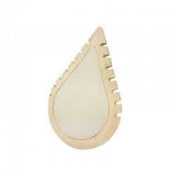 Petit présentoir colliers en bois et suédine beige en forme de goutte d'eau - 11000