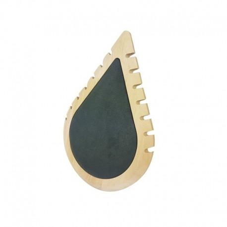 Petit présentoir colliers en bois et suédine grise en forme de goutte d'eau - 11003