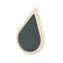 Présentoir colliers en bois et suédine grise en forme de goutte d'eau - 11004
