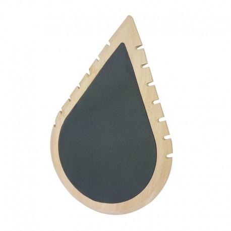Grand présentoir colliers en bois et suédine grise en forme de goutte d'eau - 11005