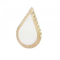 Petit présentoir colliers en bois et simili cuir blanc en forme de goutte d'eau - 11009