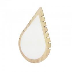Présentoir colliers en bois et simili cuir blanc en forme de goutte d'eau - 11010