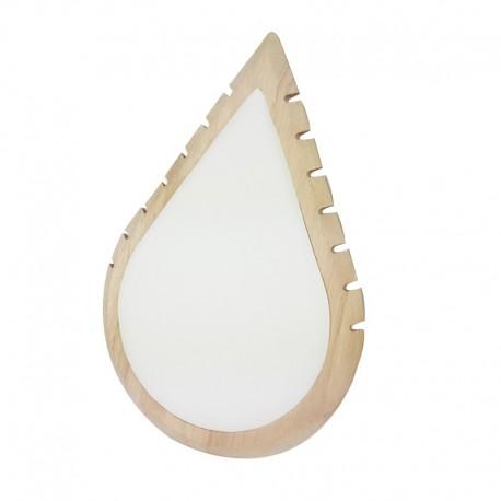Grand présentoir colliers en bois et simili cuir blanc en forme de goutte d'eau - 11011